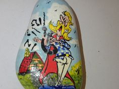 asterix hand painted stone