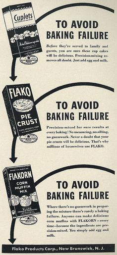 "1941 Illustrated Food Ad, Flako Baking Products, ""To Avoid… 