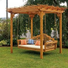 The pergola kits are the easiest and quickest way to build a garden pergola. There are lots of do it yourself pergola kits available to you so that anyone could easily put them together to construct a new structure at their backyard. Backyard Swings, Pergola Swing, Large Backyard, Backyard Pergola, Backyard Landscaping, Patio Decks, Pergola Ideas, Backyard Ideas, Cedar Pergola