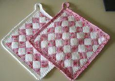 Topflappen in weiß und Pink