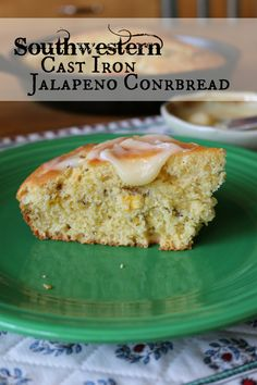 Southwestern Cast Iron Jalapeno Cornbread made with roasted corn and jalapeno peppers.  CeceliasGoodStuff.com |Good Food for Good People