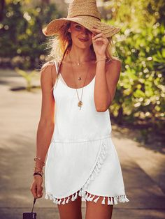 What vacation looks like: a super-cute beach dress in bright white. Now all you need is plane tickets & a bikini! | Victoria's Secret Fringe Cover-up Dress