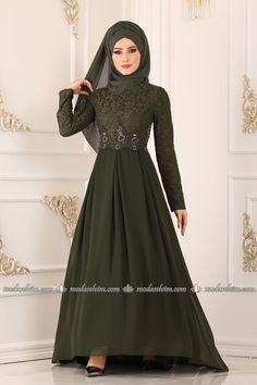 ModaSelvim Pileli Peplum Abiye 8784W153 Haki Modest Evening Gowns, Hijab Dress, Kebaya, Muslim Fashion, The Dress, Peplum, Formal Dresses, Womens Fashion, Collection