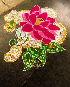 #kolam#lotus#pink Simple Rangoli Designs Images, Rangoli Designs Flower, Small Rangoli Design, Rangoli Patterns, Rangoli Ideas, Rangoli Designs Diwali, Diwali Rangoli, Flower Rangoli, Beautiful Rangoli Designs