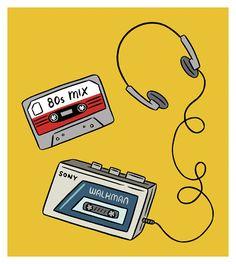 fondos Walkman, headphones and an mix tape. 80s Icons, Glass Engraving, Ink Illustrations, Retro Aesthetic, Art Challenge, Mixtape, Doodle Art, Cute Wallpapers, Amazing Art