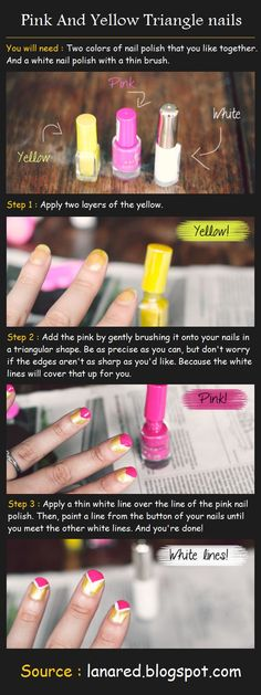 Pink And Yellow Triangle nails Tutorial | Beauty Tutorials