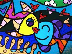 "Original Painting ""Two Fish 2011 by Romero Britto Bright Colors Art, Arte Country, Graffiti Painting, Selling Art Online, Art Lessons Elementary, Happy Art, Art Plastique, Art Activities, Stone Art"