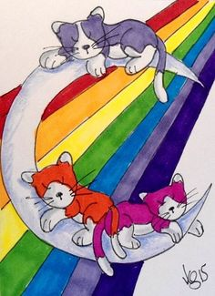 "Aceo Original     ""KITTIES MOON AND RAINBOW""    pencil/ink  #OutsiderArt"