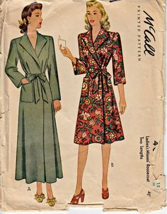 1940's Misses' Housecoat Pattern  McCALL 4899  1942 Beautiful Wrap Style Housecoat in Two Lengths  Vintage Sewing Christmas Robe  Bust 30