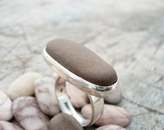 pebble beach stone sterling silver ring FREE by BIZARREjewelry