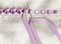 Insertion lace with silk ribbon and then whip stitched