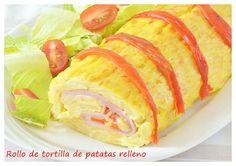 Comparte Recetas - Rollo de tortilla de patatas relleno