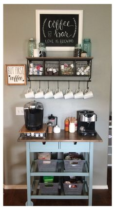 Wine And Coffee Bar, Coffee Bars In Kitchen, Coffee Bar Home, Home Coffee Stations, Coffee Bar Ideas, Kitchen Bars, Diy Coffe Bar, Office Coffee Station, Coffee Station Kitchen