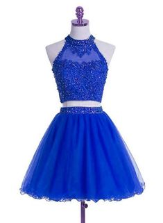 Princess Prom Dress, 2019 A Line Scoop Two-Piece Beaded Bodice Homecoming Dresses Tulle, An engrossing 2020 prom gown is usually a long flowing dress usually worn to a formal affair showing the elegant and ethereal. Formal Dresses For Teens, Tight Dresses, Blue Dresses, Girls Dresses, Dama Dresses, Junior Bridesmaid Dresses, Homecoming Dresses, Robes D'occasion, Bleu Royal