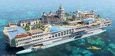 A floating palace: 'The Streets Of Monaco' is a concept for a £244million yacht that incorporates landmarks from the city-state, including t...