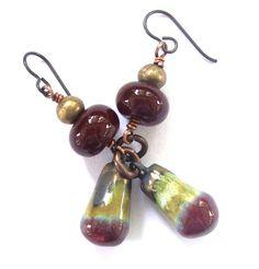 Rustic Bohemian Scorched Earth Dangle Earrings by SheFliesAgain, $33.00