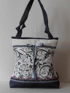 Drapp-sötétszürke farmer táska, egyedileg szitázott mintával, pöttyös megkötõvel