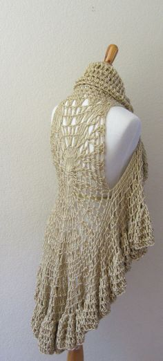 BEIGE CROCHET Bohemian VEST Poncho Sweater // Scarf by marianavail, $62.00