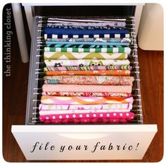 I don't do much sewing but this is genius.   File your fabric - via The Thinking Closet