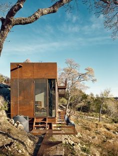 Not a container house but architect designed stell studio, hide, shack etc. but cute