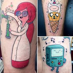 Princess Bubblegum tattoo, Finn and Jake tattoo, B-Mo tattoo❤️ Adventure Time tattoos❤️