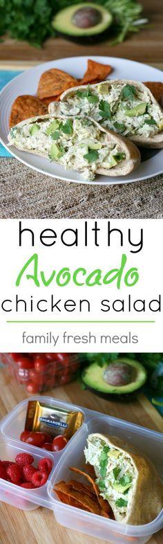 Healthy Avocado Chicken Salad Recipe - If you love chicken salad and avocados, then you are going to go ga-ga for this recipe! Healthy Avocado Chicken Salad Recipe - If you love chicken salad and avocados, then you are going to go ga-ga for this recipe! Lunch Recipes, Cooking Recipes, Healthy Avocado Recipes, Salad Recipes For Dinner, Clean Eating, Healthy Eating, Healthy Snacks, Healthy Diabetic Recipes, Healthy To Go Meals