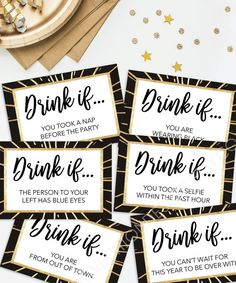 New Years Eve Party Game - Drink If Game - Printable New Year's Eve Game - New Years Eve Decorations - New Years Eve Ideas - Happy New Year - Ano novo PSIU - outfit ideen New Years Eve Drinks, New Years Eve Games, New Years Party, New Years Eve Party Ideas For Adults, Happy New Year Gif, Happy New Year Message, Nye Party, Party Drinks, Silvester Make Up