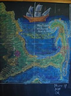 Waldorf ~ 5th grade ~ Geography ~ North America ~ The Thirteen Colonies ~ chalkboard drawing