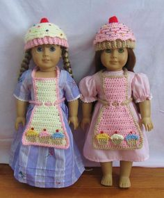 "Cute Cupcake Hat and Apron Crochet Patterns for 18"" American Girl Doll. Cute inspiration."
