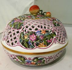 Herend Porcelain | Tennants Auctioneers: Continental Herend porcelain chestnut basket ...