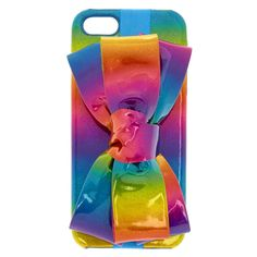 Holographic Rainbow Bow Phone Case | Make a statement with our Holographic Rainbow Bow Phone Case. Snap-in style case in wrapped in a holographic rainbow print, can be dressed up or down with a matching removable bow.