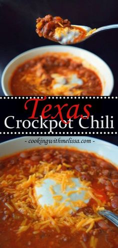 Texas Crockpot Chili - Take 20 minutes in the morning to start hot and hearty chili in the slow cooker.winter comfort food is the best! Crock Pot Food, Crockpot Dishes, Crock Pot Slow Cooker, Slow Cooker Recipes, Crock Pot Chili, Crock Pots, Turkey Chili Slow Cooker, Best Slow Cooker Chili, Chilli Recipes