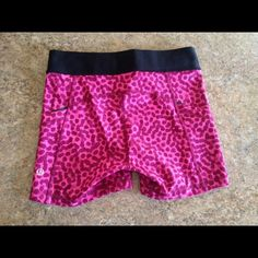 Lululemon what the sport short in cheetah pink and black cheetah what the sport short size 4 with tags lululemon athletica Shorts
