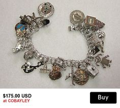 Elco Sterling  Charm Bracelet with 20 Charms