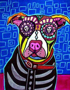 Pit bull Art Day of the Dead Mexican Folk Art by HeatherGallerArt, $20.00