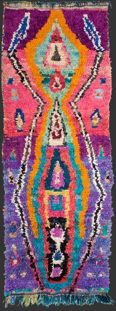 bs134, Moroccan vintage  boucherouite rag rug, 290 x 110 cm / 9' 6'' x 3'  8''