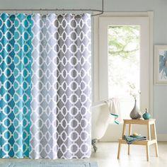 90° By Design Lab Dani Printed Shower Curtain And Hook Set|Designer Living