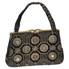 Ganeshi Lall & Son Embroidered Art Glass Purse: RL-4215: Removed