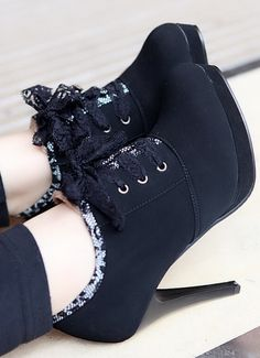 Lace high-heeled boots