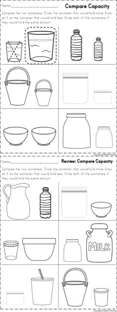 Worksheets for comparing capacity. Part of a kindergarten math unit on measurement.