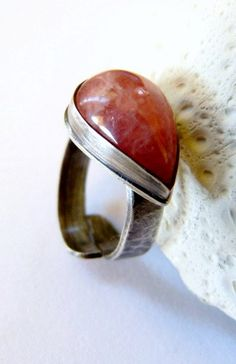 Rhodochrosite silver ring handcrafted cocktail ring