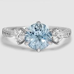 18K White Gold Gramercy Diamond Ring // Set with a 7mm Round Aquamarine (From Unique Colored Gemstone Gallery) #BrilliantEarth