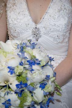 My wedding dress and boquet details  flowers, blue, white