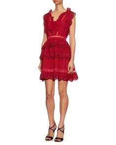 Self-Portrait, Tiered Ruffled Lace Dress