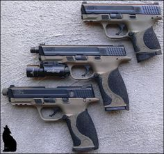 TheTacticalCoyote's MP pistols, refinished in Magpul FDE Cerakote. From AR15.com forums.  NICE SET