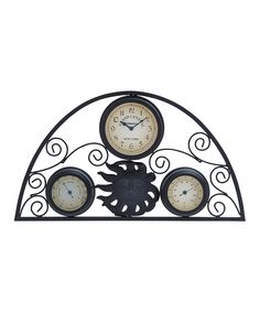 Look at this UMA Enterprises Sun & Scroll Metal Outdoor Wall Clock & Thermometer on #zulily today!