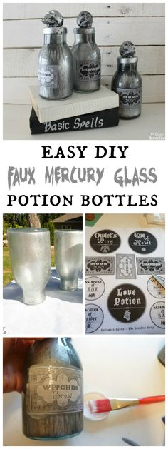 How to make your own Easy DIY Faux Mercury Glass Potion Bottles tutorial at The Happy Housie #HalloweenDecor
