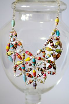 Statement Paper Bead Bib Necklace. $35.00, via Etsy. I like this arrangement - maybe for a garland?