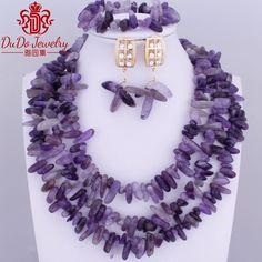 2017 Splendid Dubai Purple Jewelry Set African Crystal beads Necklace Set 3 Layers Necklace Bracelet earring jewelry Set Fashion