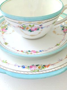 Antique French China Limoges Teacup Saucer and by MariasFarmhouse, $125.00